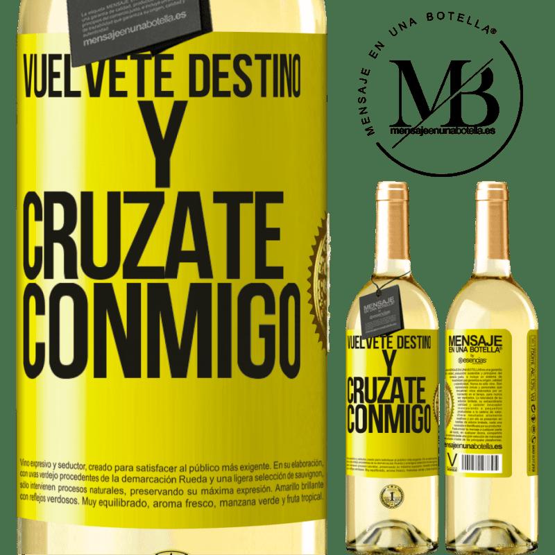 24,95 € Envoi gratuit | Vin blanc Édition WHITE Deviens le destin et croise avec moi Étiquette Jaune. Étiquette personnalisable Vin jeune Récolte 2020 Verdejo