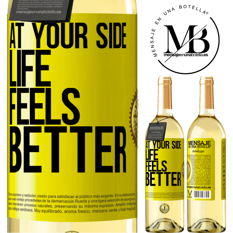 24,95 € Free Shipping | White Wine WHITE Edition At your side life feels better Yellow Label. Customizable label Young wine Harvest 2020 Verdejo