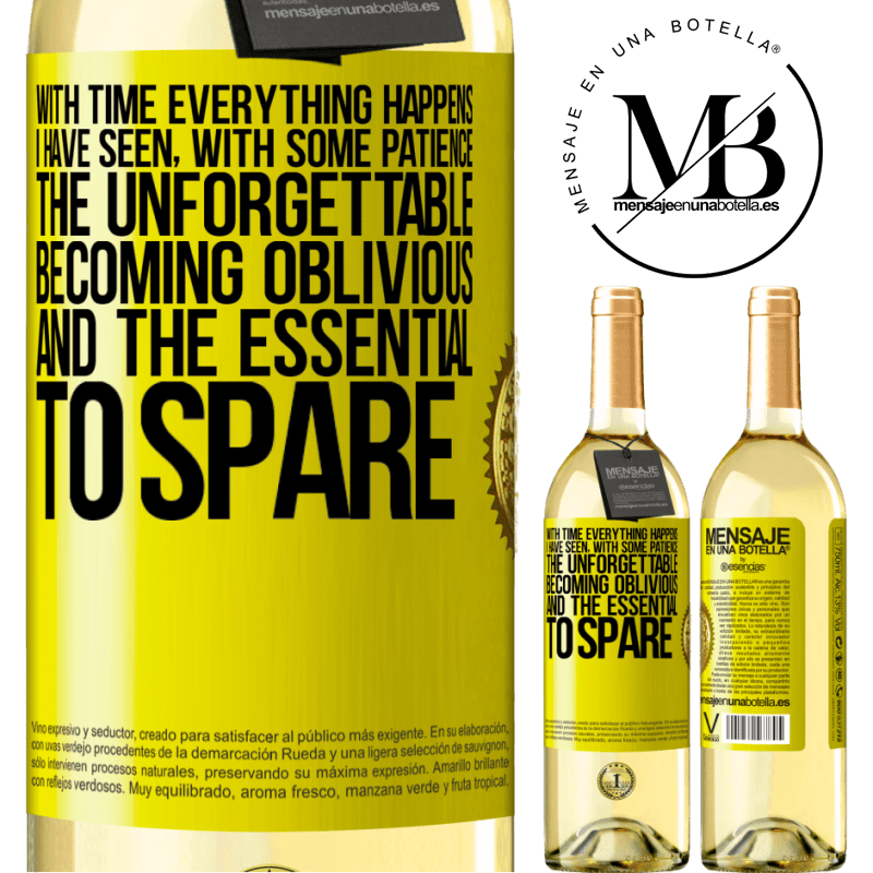 24,95 € Free Shipping | White Wine WHITE Edition With time everything happens. I have seen, with some patience, the unforgettable becoming oblivious, and the essential to Yellow Label. Customizable label Young wine Harvest 2020 Verdejo