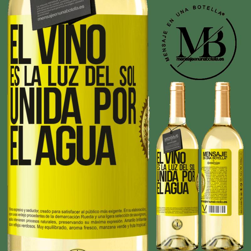 24,95 € Envío gratis | Vino Blanco Edición WHITE El vino es la luz del sol, unida por el agua Etiqueta Amarilla. Etiqueta personalizable Vino joven Cosecha 2020 Verdejo