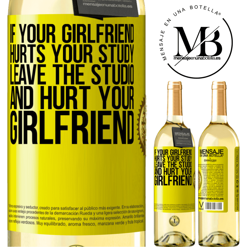 24,95 € Free Shipping | White Wine WHITE Edition If your girlfriend hurts your study, leave the studio and hurt your girlfriend Yellow Label. Customizable label Young wine Harvest 2020 Verdejo