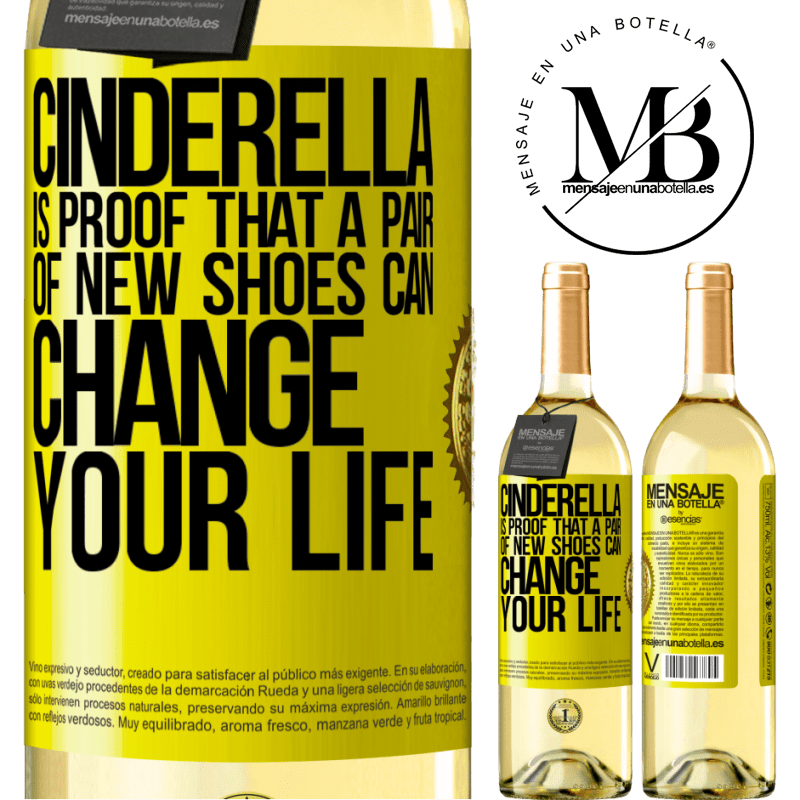 24,95 € Free Shipping | White Wine WHITE Edition Cinderella is proof that a pair of new shoes can change your life Yellow Label. Customizable label Young wine Harvest 2020 Verdejo
