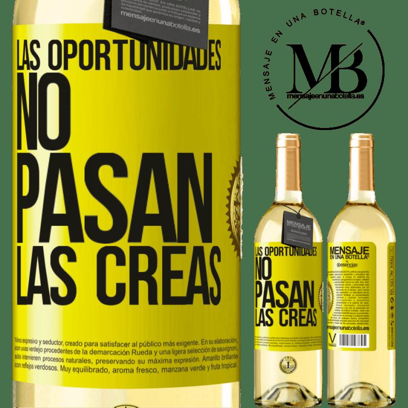 24,95 € Envoi gratuit | Vin blanc Édition WHITE Les opportunités ne passent pas. Vous les créez Étiquette Jaune. Étiquette personnalisable Vin jeune Récolte 2020 Verdejo