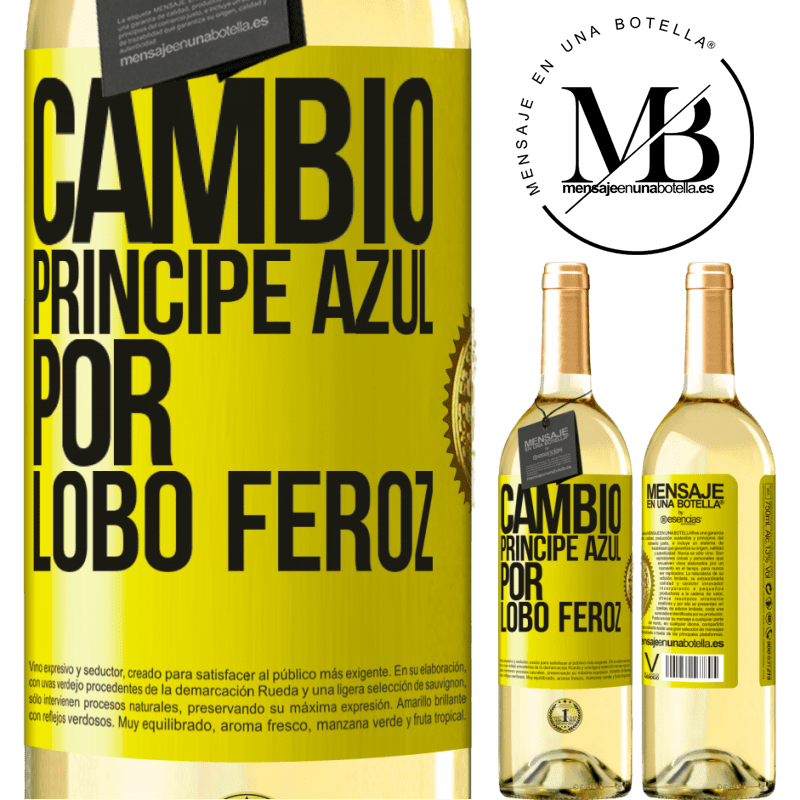 24,95 € Envoi gratuit   Vin blanc Édition WHITE Changer le prince bleu pour un loup féroce Étiquette Jaune. Étiquette personnalisable Vin jeune Récolte 2020 Verdejo
