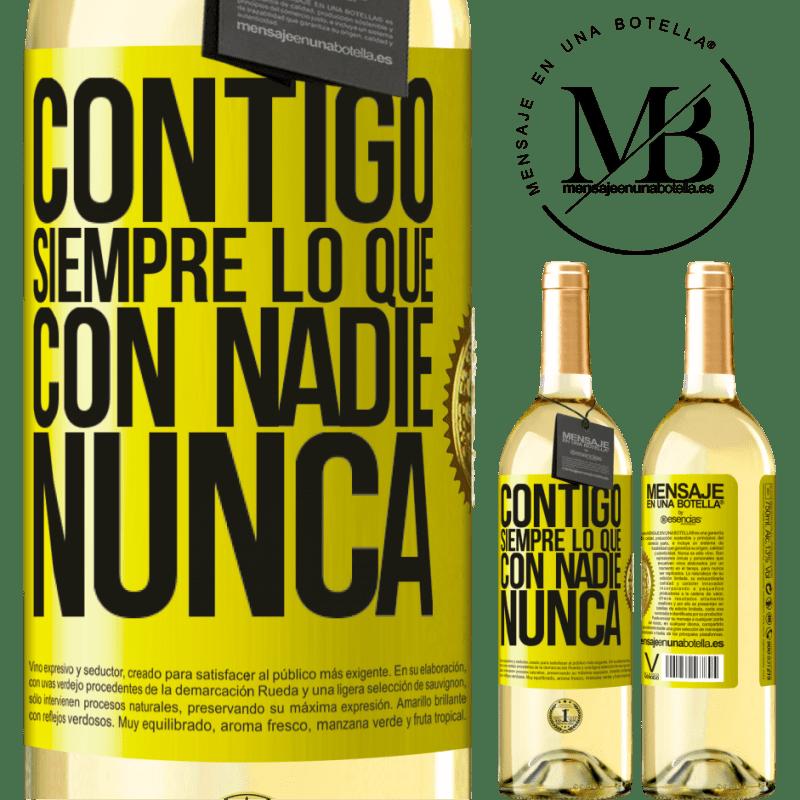 24,95 € Envoi gratuit | Vin blanc Édition WHITE Avec toi toujours avec quiconque Étiquette Jaune. Étiquette personnalisable Vin jeune Récolte 2020 Verdejo