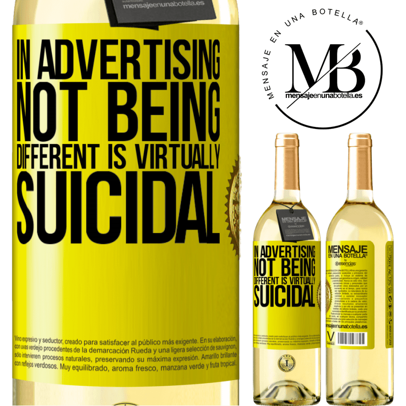 24,95 € Free Shipping   White Wine WHITE Edition In advertising, not being different is virtually suicidal Yellow Label. Customizable label Young wine Harvest 2020 Verdejo