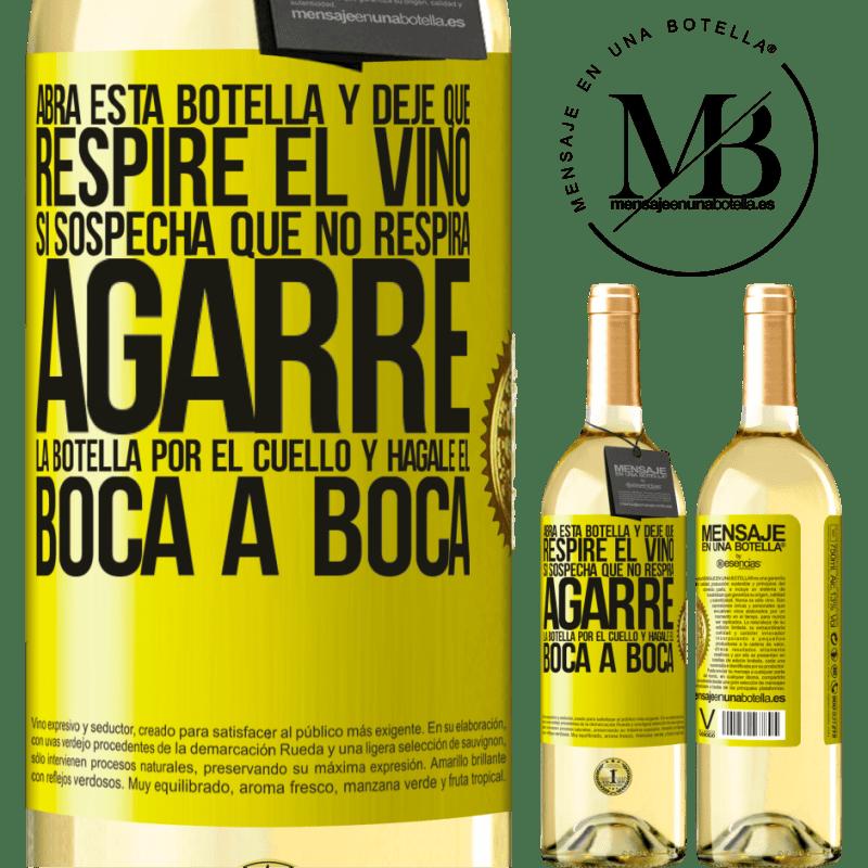 24,95 € Envoi gratuit   Vin blanc Édition WHITE Ouvrez cette bouteille et laissez respirer le vin. Si vous pensez que vous ne respirez pas, prenez le flacon par le cou et Étiquette Jaune. Étiquette personnalisable Vin jeune Récolte 2020 Verdejo