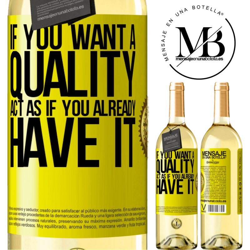 24,95 € Free Shipping   White Wine WHITE Edition If you want a quality, act as if you already had it Yellow Label. Customizable label Young wine Harvest 2020 Verdejo