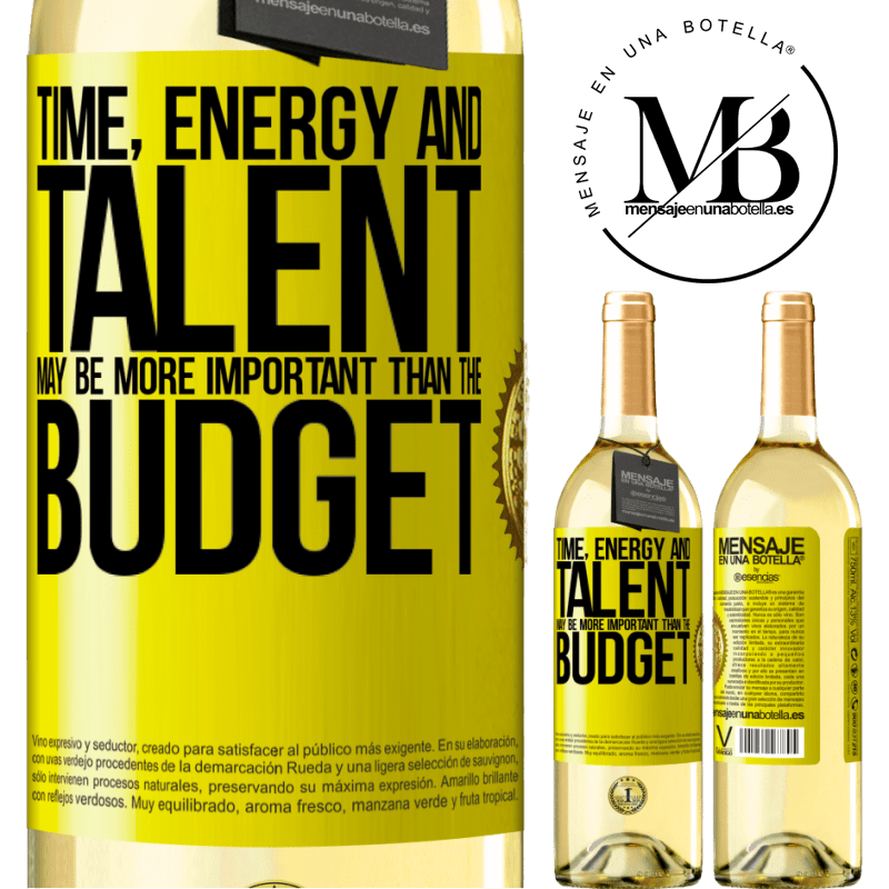 24,95 € Free Shipping | White Wine WHITE Edition Time, energy and talent may be more important than the budget Yellow Label. Customizable label Young wine Harvest 2020 Verdejo