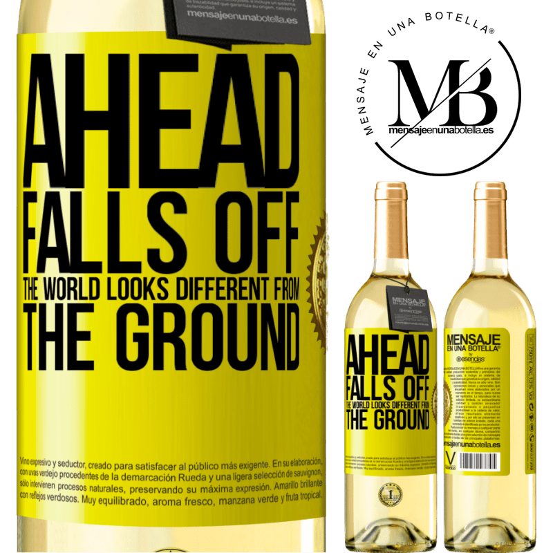 24,95 € Free Shipping | White Wine WHITE Edition Ahead. Falls off. The world looks different from the ground Yellow Label. Customizable label Young wine Harvest 2020 Verdejo