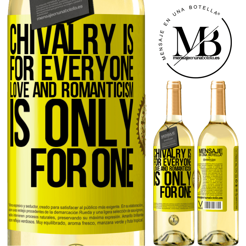 24,95 € Free Shipping | White Wine WHITE Edition Chivalry is for everyone. Love and romanticism is only for one Yellow Label. Customizable label Young wine Harvest 2020 Verdejo