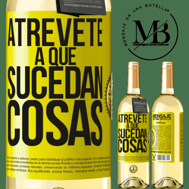 24,95 € Envoi gratuit   Vin blanc Édition WHITE Osez faire bouger les choses Étiquette Jaune. Étiquette personnalisable Vin jeune Récolte 2020 Verdejo