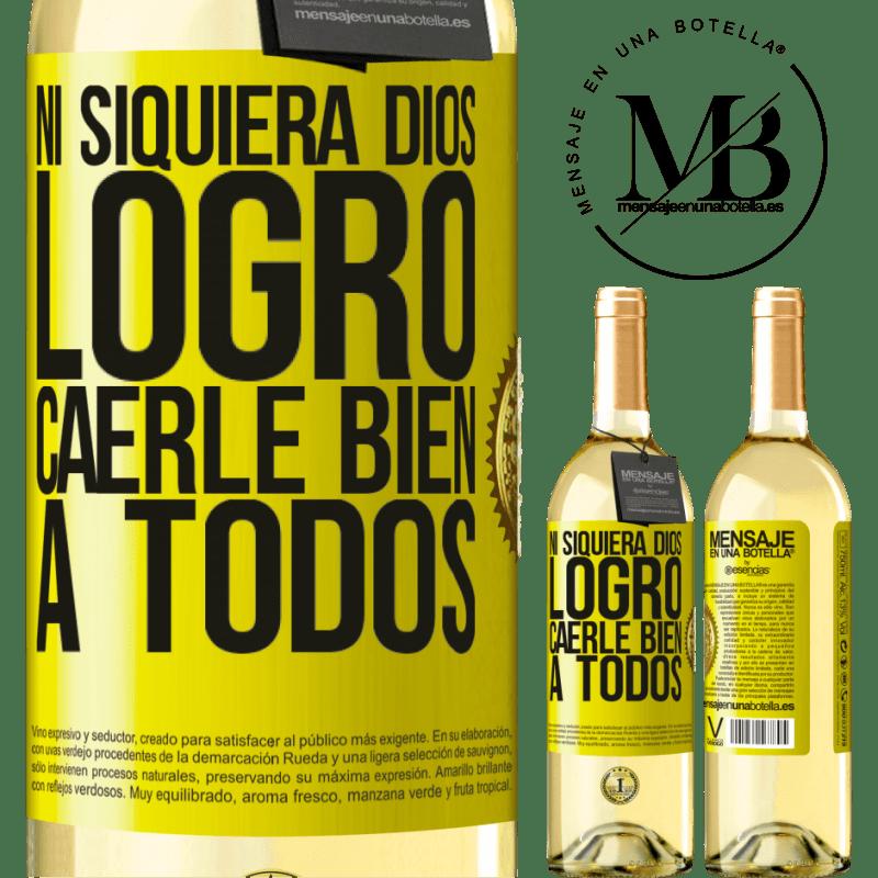 24,95 € Envoi gratuit | Vin blanc Édition WHITE Même Dieu n'a pas réussi à aimer tout le monde Étiquette Jaune. Étiquette personnalisable Vin jeune Récolte 2020 Verdejo