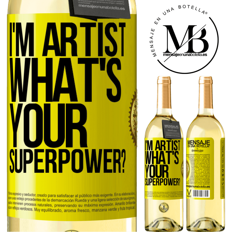 24,95 € Free Shipping | White Wine WHITE Edition I'm artist. What's your superpower? Yellow Label. Customizable label Young wine Harvest 2020 Verdejo