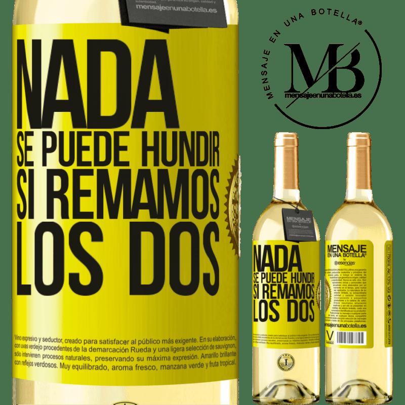 24,95 € Envoi gratuit | Vin blanc Édition WHITE Rien ne peut couler si nous pagayons les deux Étiquette Jaune. Étiquette personnalisable Vin jeune Récolte 2020 Verdejo