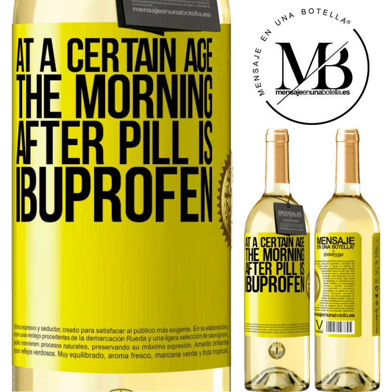 24,95 € Free Shipping | White Wine WHITE Edition At a certain age, the morning after pill is ibuprofen Yellow Label. Customizable label Young wine Harvest 2020 Verdejo