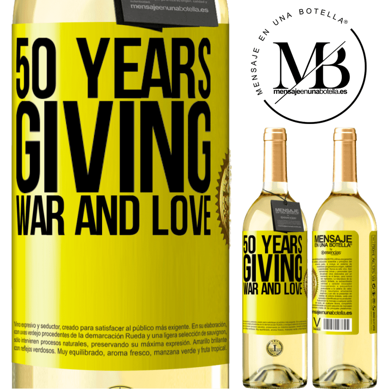 24,95 € Free Shipping | White Wine WHITE Edition 50 years giving war and love Yellow Label. Customizable label Young wine Harvest 2020 Verdejo