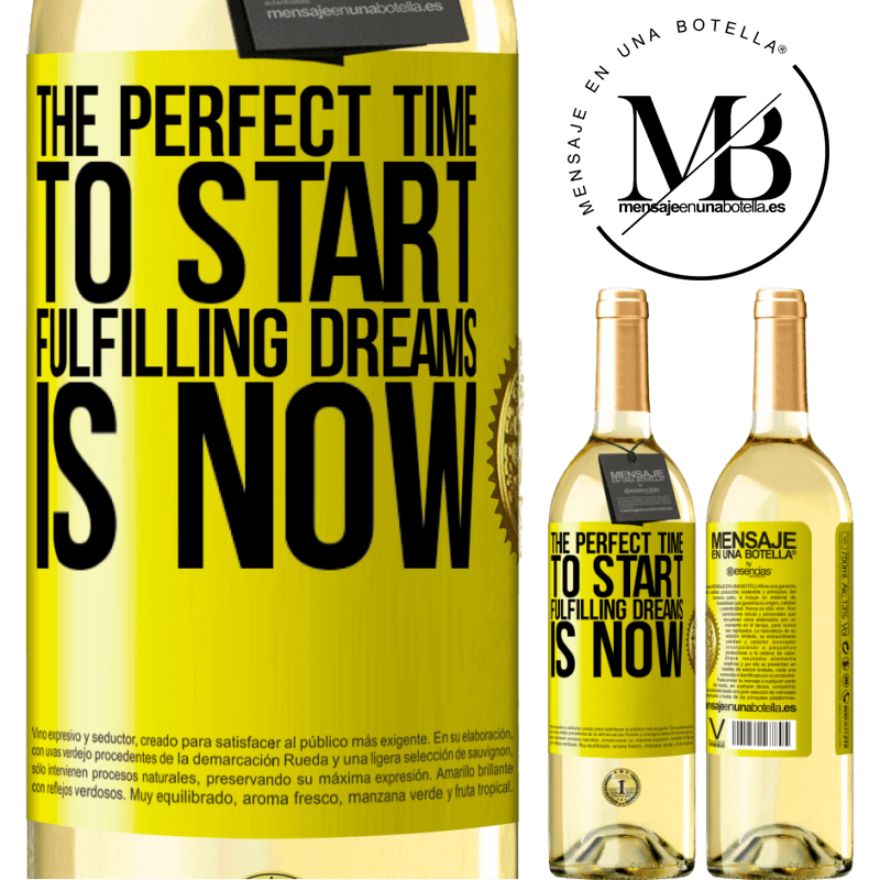 24,95 € Free Shipping | White Wine WHITE Edition The perfect time to start fulfilling dreams is now Yellow Label. Customizable label Young wine Harvest 2020 Verdejo