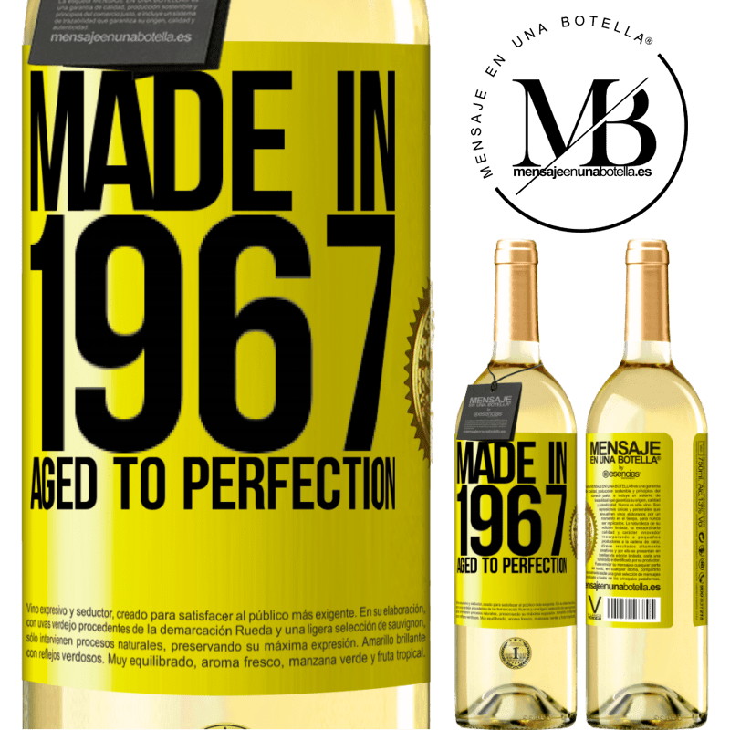 24,95 € Free Shipping | White Wine WHITE Edition Made in 1967. Aged to perfection Yellow Label. Customizable label Young wine Harvest 2020 Verdejo