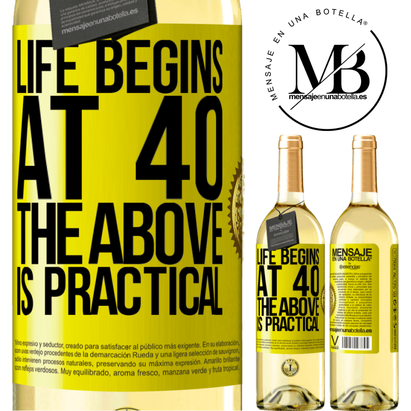 24,95 € Free Shipping | White Wine WHITE Edition Life begins at 40. The above is practical Yellow Label. Customizable label Young wine Harvest 2020 Verdejo