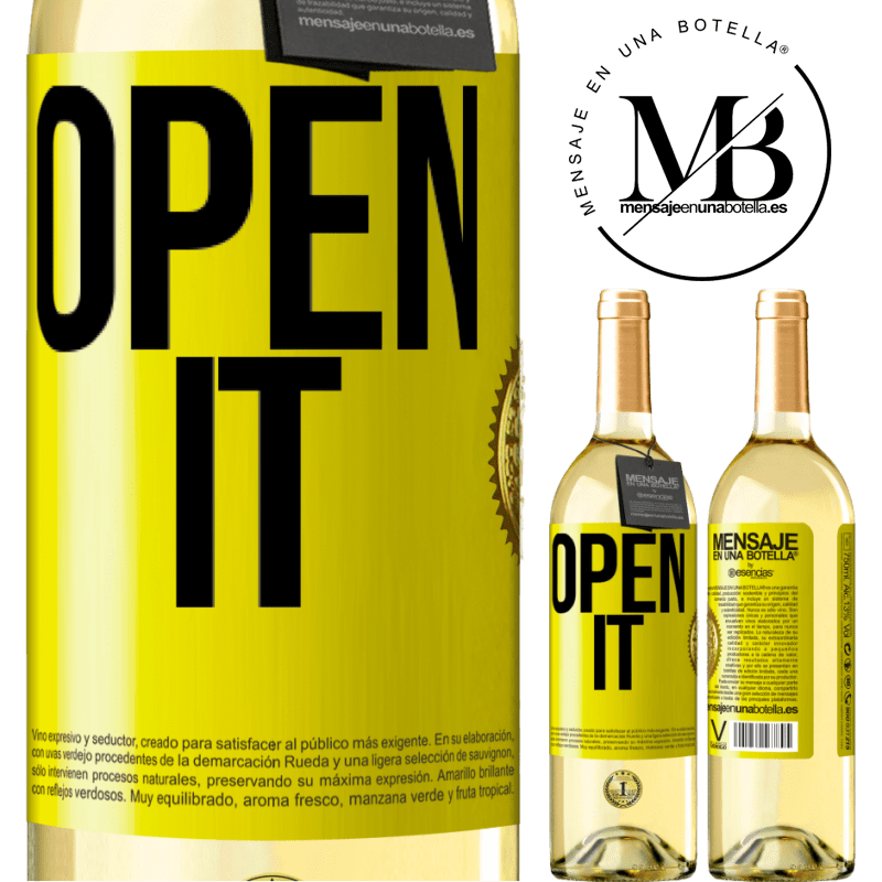 24,95 € Free Shipping | White Wine WHITE Edition Open it Yellow Label. Customizable label Young wine Harvest 2020 Verdejo