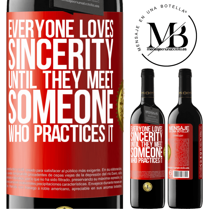 24,95 € Free Shipping | Red Wine RED Edition Crianza 6 Months Everyone loves sincerity. Until they meet someone who practices it Red Label. Customizable label Aging in oak barrels 6 Months Harvest 2018 Tempranillo