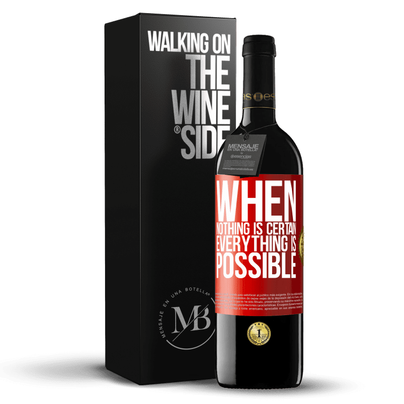 24,95 € Free Shipping | Red Wine RED Edition Crianza 6 Months When nothing is certain, everything is possible Red Label. Customizable label Aging in oak barrels 6 Months Harvest 2018 Tempranillo