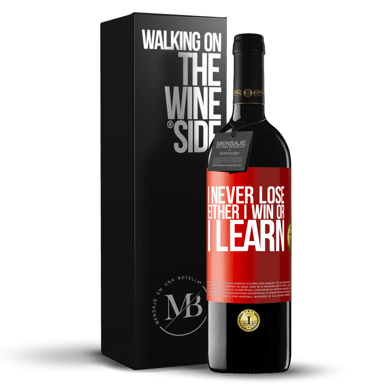 24,95 € Free Shipping   Red Wine RED Edition Crianza 6 Months I never lose. Either I win or I learn Red Label. Customizable label Aging in oak barrels 6 Months Harvest 2018 Tempranillo