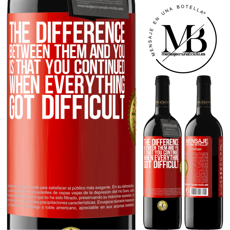 24,95 € Free Shipping | Red Wine RED Edition Crianza 6 Months The difference between them and you, is that you continued when everything got difficult Red Label. Customizable label Aging in oak barrels 6 Months Harvest 2018 Tempranillo