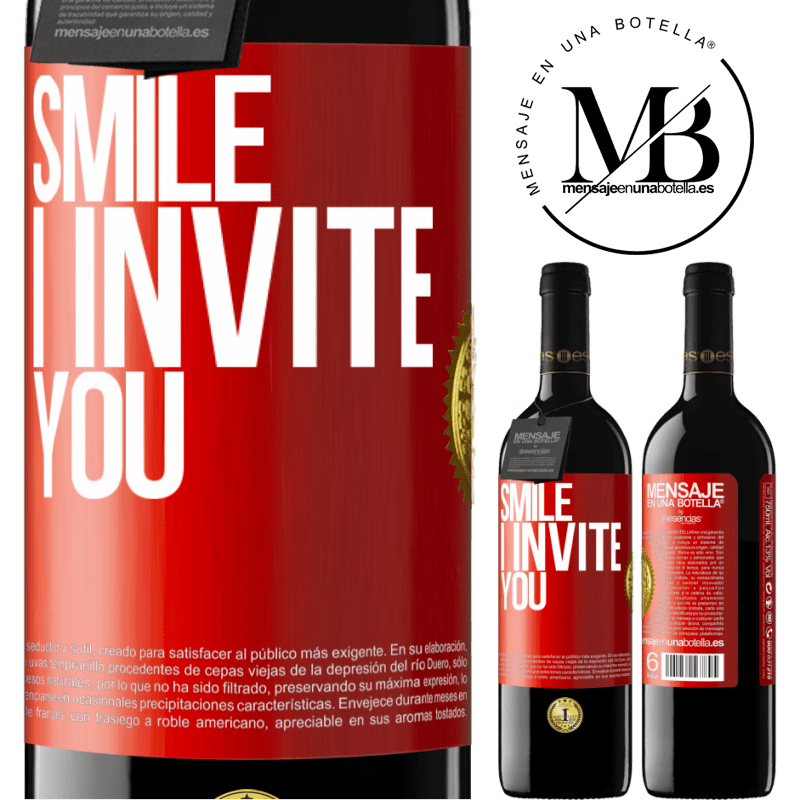 24,95 € Free Shipping | Red Wine RED Edition Crianza 6 Months Smile I invite you Red Label. Customizable label Aging in oak barrels 6 Months Harvest 2018 Tempranillo