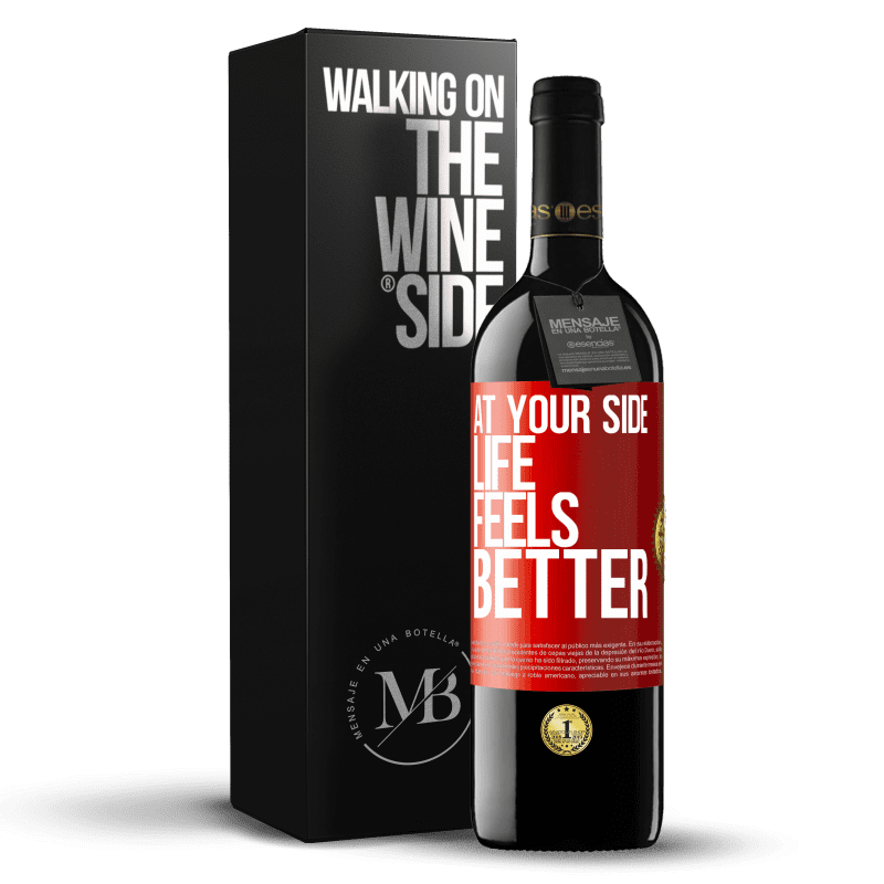 24,95 € Free Shipping | Red Wine RED Edition Crianza 6 Months At your side life feels better Red Label. Customizable label Aging in oak barrels 6 Months Harvest 2018 Tempranillo