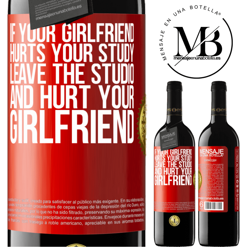 24,95 € Free Shipping | Red Wine RED Edition Crianza 6 Months If your girlfriend hurts your study, leave the studio and hurt your girlfriend Red Label. Customizable label Aging in oak barrels 6 Months Harvest 2018 Tempranillo