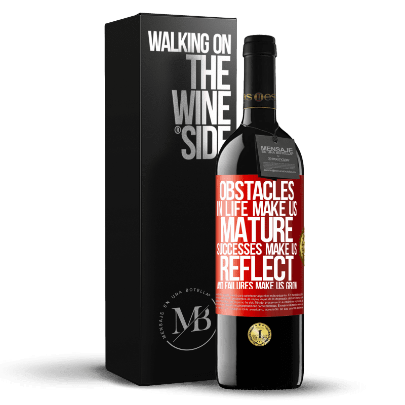 24,95 € Free Shipping | Red Wine RED Edition Crianza 6 Months Obstacles in life make us mature, successes make us reflect, and failures make us grow Red Label. Customizable label Aging in oak barrels 6 Months Harvest 2018 Tempranillo