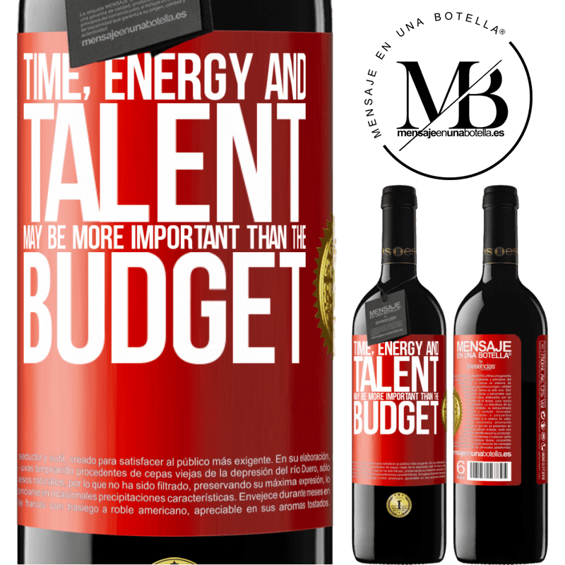 24,95 € Free Shipping | Red Wine RED Edition Crianza 6 Months Time, energy and talent may be more important than the budget Red Label. Customizable label Aging in oak barrels 6 Months Harvest 2018 Tempranillo