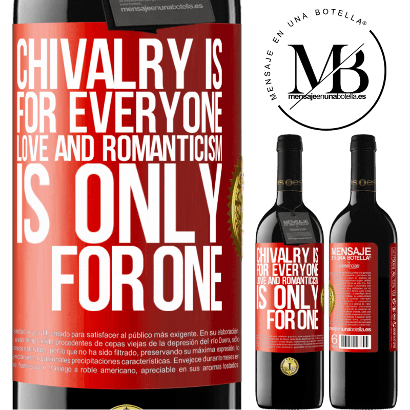 24,95 € Free Shipping | Red Wine RED Edition Crianza 6 Months Chivalry is for everyone. Love and romanticism is only for one Red Label. Customizable label Aging in oak barrels 6 Months Harvest 2018 Tempranillo