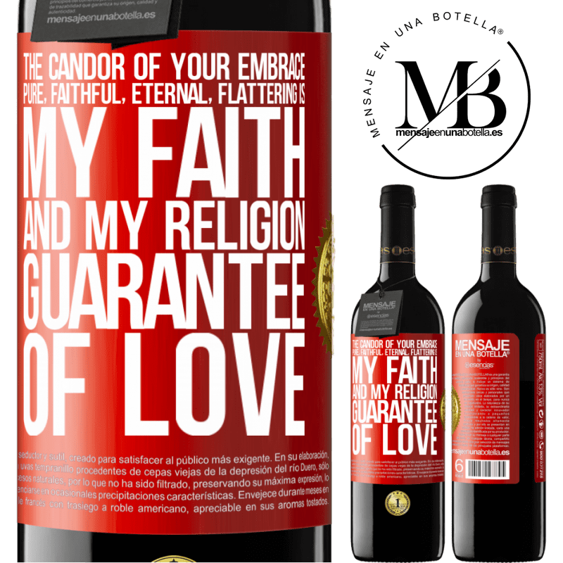 24,95 € Free Shipping | Red Wine RED Edition Crianza 6 Months The candor of your embrace, pure, faithful, eternal, flattering, is my faith and my religion, guarantee of love Red Label. Customizable label Aging in oak barrels 6 Months Harvest 2018 Tempranillo