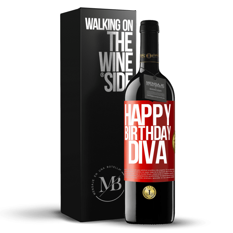 24,95 € Free Shipping | Red Wine RED Edition Crianza 6 Months Happy birthday Diva Red Label. Customizable label Aging in oak barrels 6 Months Harvest 2018 Tempranillo
