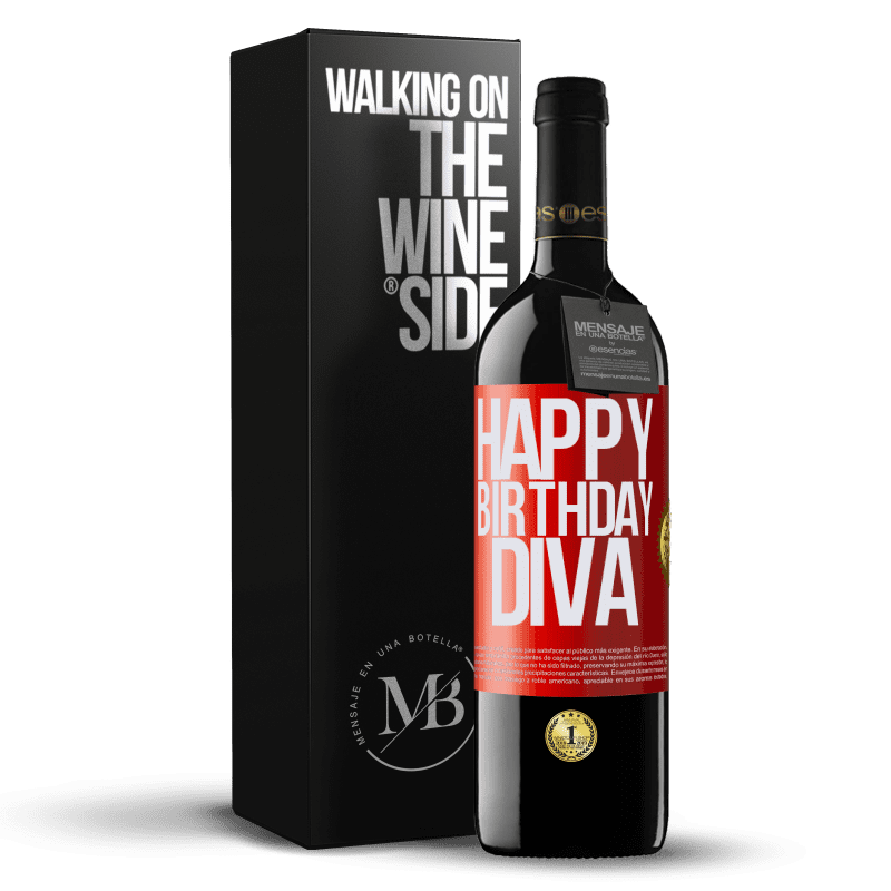 24,95 € Envoi gratuit | Vin rouge Édition RED Crianza 6 Mois Joyeux anniversaire Diva Étiquette Rouge. Étiquette personnalisable Vieillissement en fûts de chêne 6 Mois Récolte 2018 Tempranillo