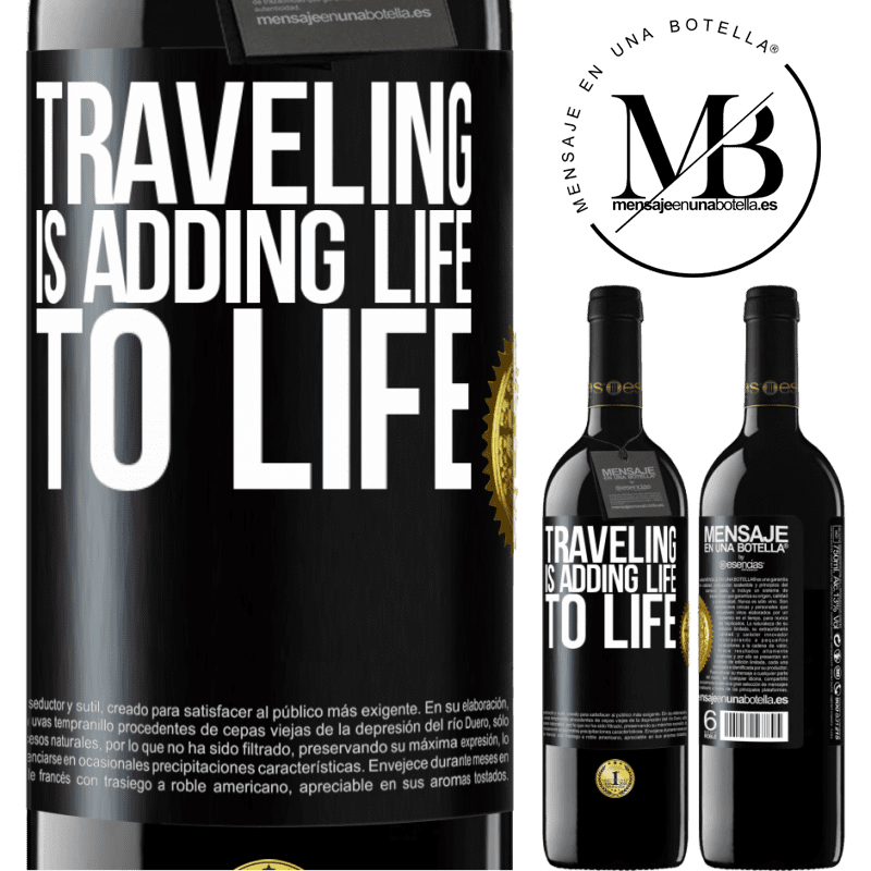 24,95 € Free Shipping | Red Wine RED Edition Crianza 6 Months Traveling is adding life to life Black Label. Customizable label Aging in oak barrels 6 Months Harvest 2018 Tempranillo