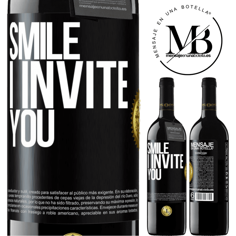 24,95 € Free Shipping | Red Wine RED Edition Crianza 6 Months Smile I invite you Black Label. Customizable label Aging in oak barrels 6 Months Harvest 2018 Tempranillo