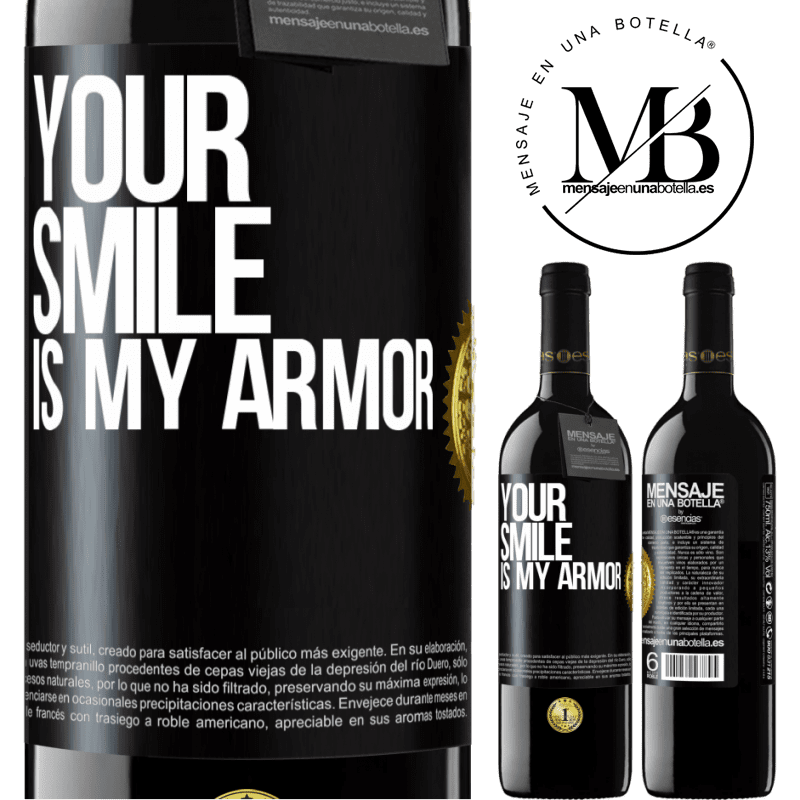 24,95 € Free Shipping | Red Wine RED Edition Crianza 6 Months Your smile is my armor Black Label. Customizable label Aging in oak barrels 6 Months Harvest 2018 Tempranillo