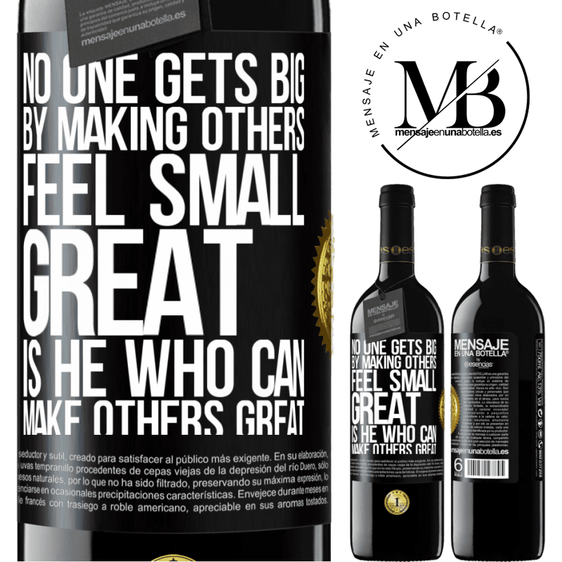 24,95 € Free Shipping | Red Wine RED Edition Crianza 6 Months No one gets big by making others feel small. Great is he who can make others great Black Label. Customizable label Aging in oak barrels 6 Months Harvest 2018 Tempranillo