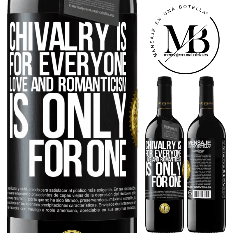 24,95 € Free Shipping | Red Wine RED Edition Crianza 6 Months Chivalry is for everyone. Love and romanticism is only for one Black Label. Customizable label Aging in oak barrels 6 Months Harvest 2018 Tempranillo