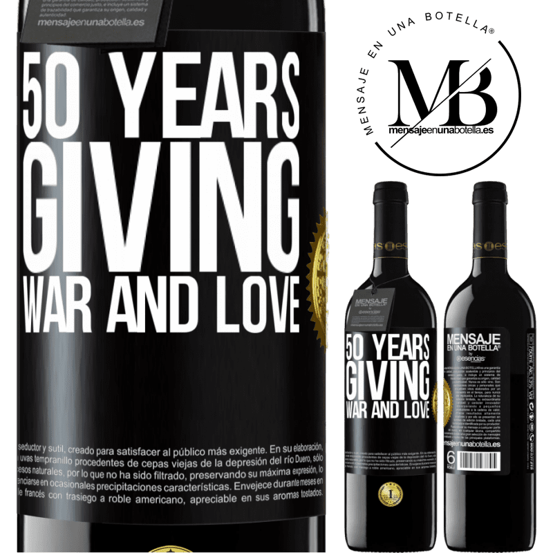 24,95 € Free Shipping | Red Wine RED Edition Crianza 6 Months 50 years giving war and love Black Label. Customizable label Aging in oak barrels 6 Months Harvest 2018 Tempranillo