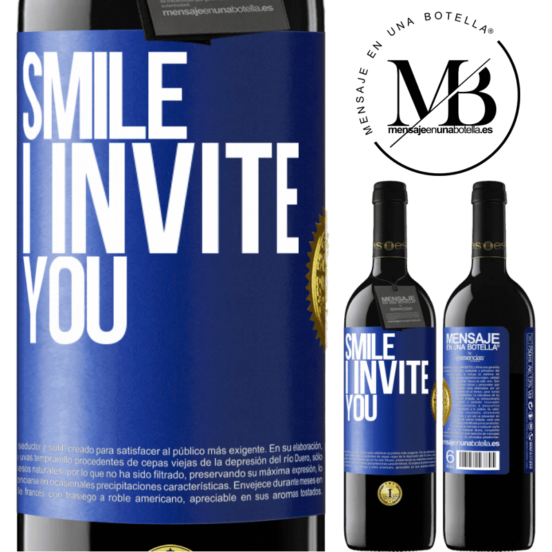 24,95 € Free Shipping | Red Wine RED Edition Crianza 6 Months Smile I invite you Blue Label. Customizable label Aging in oak barrels 6 Months Harvest 2018 Tempranillo