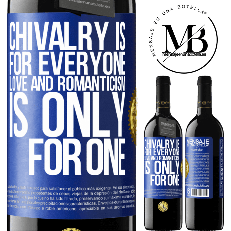 24,95 € Free Shipping | Red Wine RED Edition Crianza 6 Months Chivalry is for everyone. Love and romanticism is only for one Blue Label. Customizable label Aging in oak barrels 6 Months Harvest 2018 Tempranillo