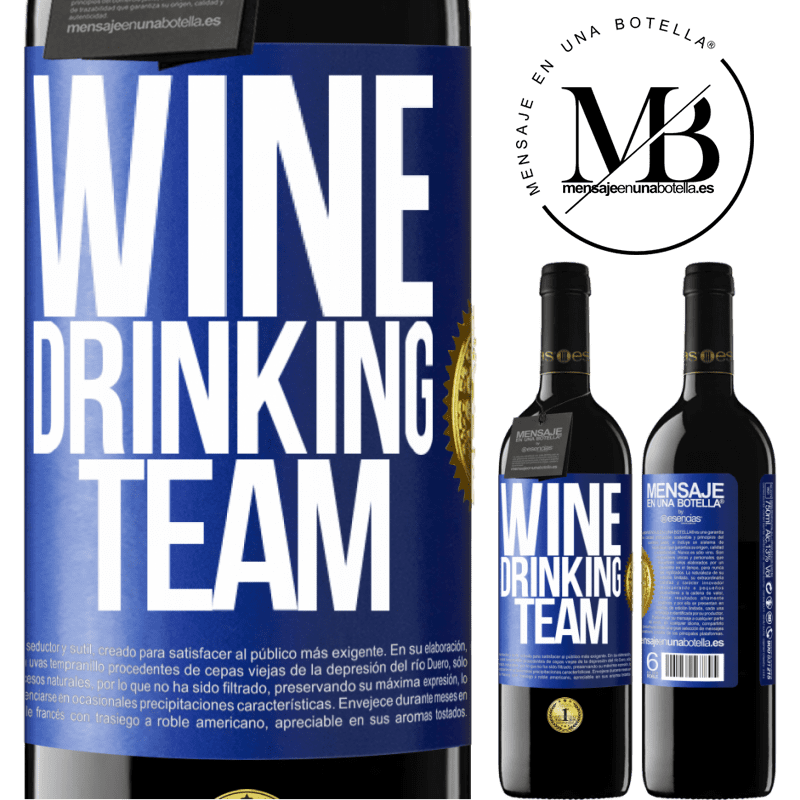 24,95 € Free Shipping | Red Wine RED Edition Crianza 6 Months Wine drinking team Blue Label. Customizable label Aging in oak barrels 6 Months Harvest 2018 Tempranillo