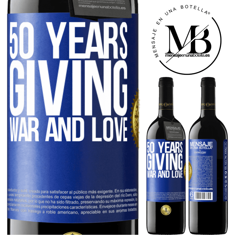 24,95 € Free Shipping | Red Wine RED Edition Crianza 6 Months 50 years giving war and love Blue Label. Customizable label Aging in oak barrels 6 Months Harvest 2018 Tempranillo