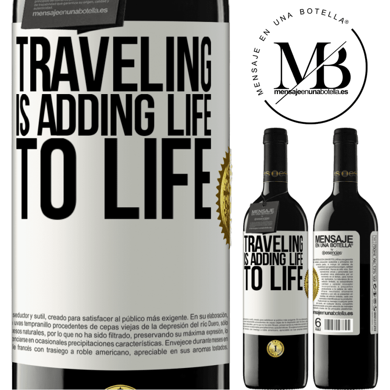 24,95 € Free Shipping | Red Wine RED Edition Crianza 6 Months Traveling is adding life to life White Label. Customizable label Aging in oak barrels 6 Months Harvest 2018 Tempranillo