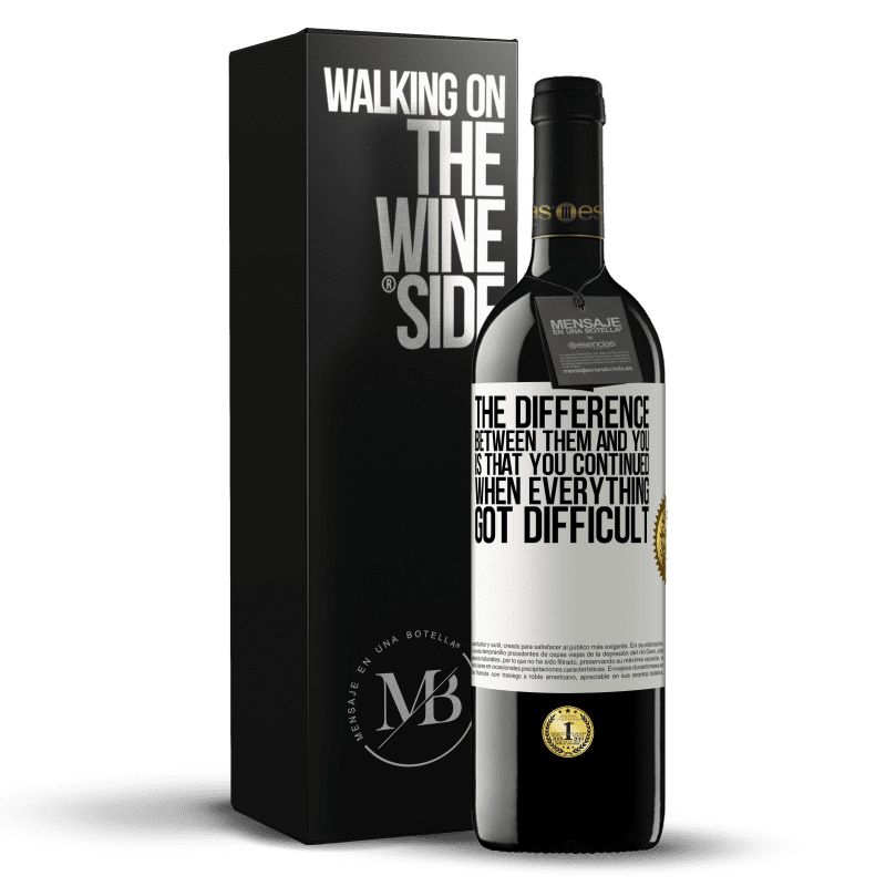 24,95 € Free Shipping | Red Wine RED Edition Crianza 6 Months The difference between them and you, is that you continued when everything got difficult White Label. Customizable label Aging in oak barrels 6 Months Harvest 2018 Tempranillo